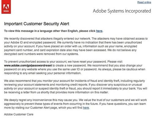 【Adobe】アドビから不正アクセス関連のパスワードリセットメールきた。※日本語訳アルヨ