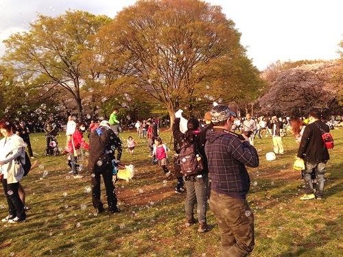 代々木公園 花見 シャボン玉おじさん